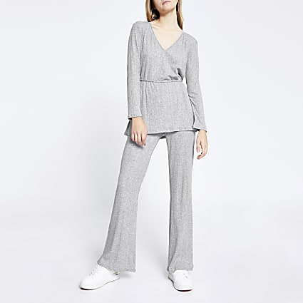 Grey ribbed split side flare trouser