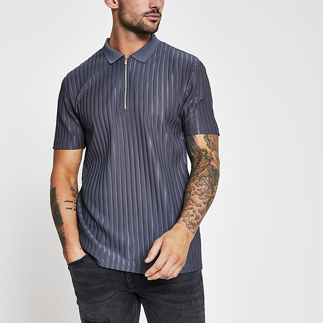 Grey ribbed zip neck slim fit polo shirt