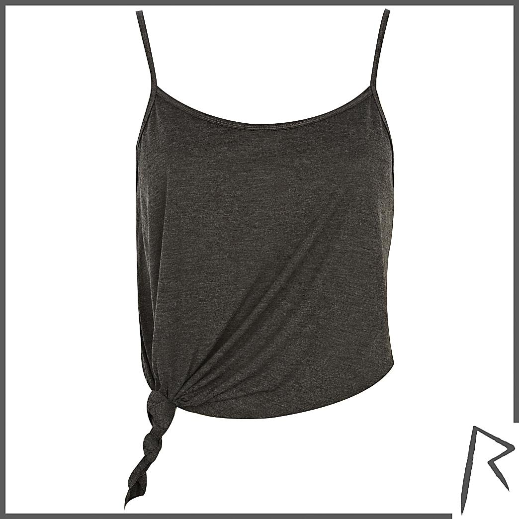 Grey Rihanna knot front cropped cami top