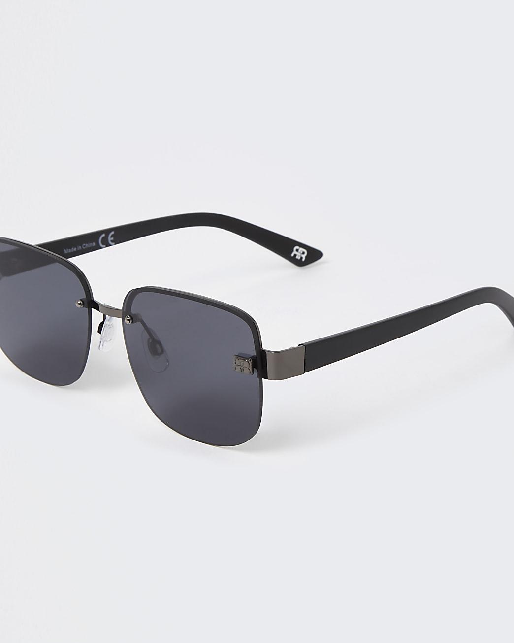Grey rimless aviator sunglasses