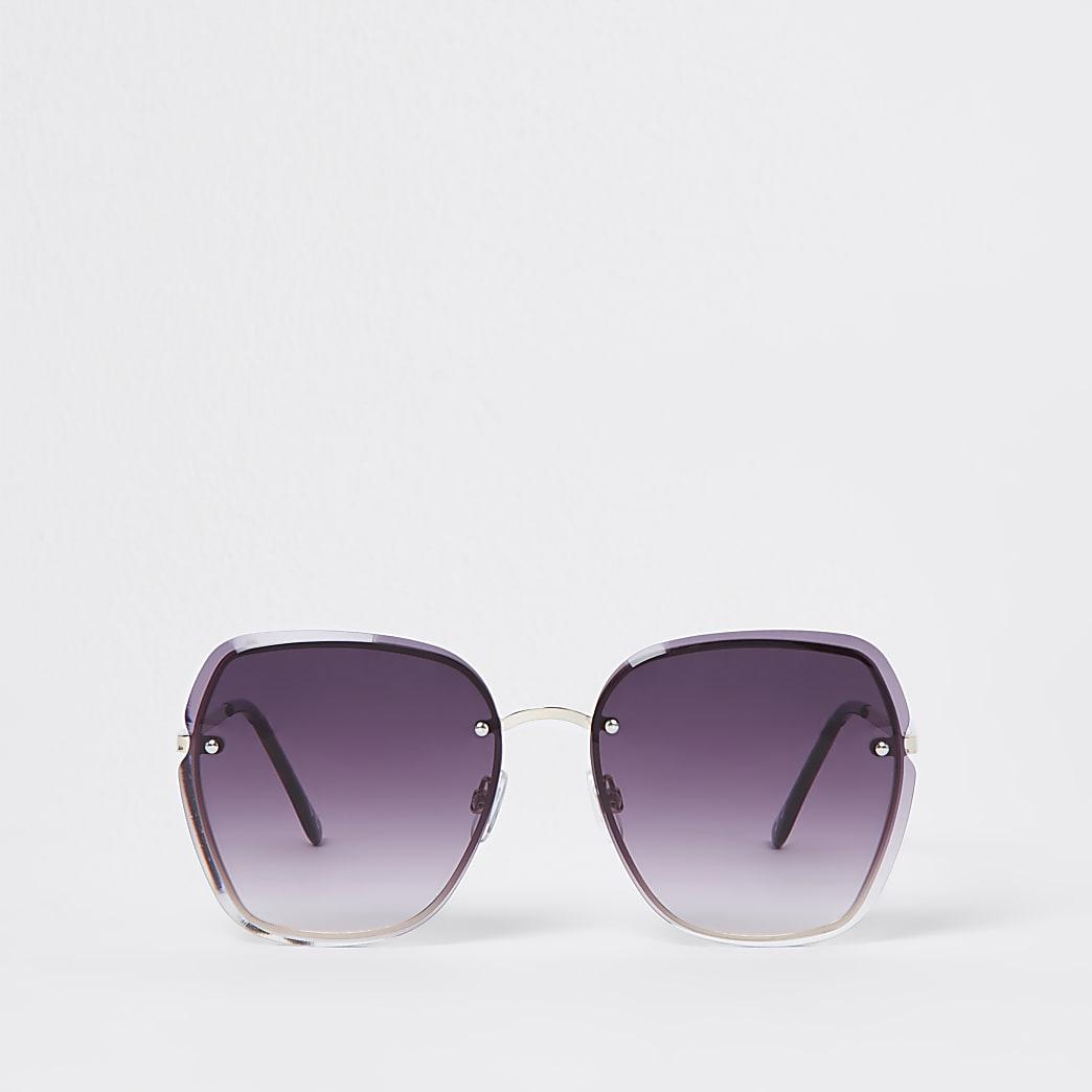 Grey rimless oversized sunglass