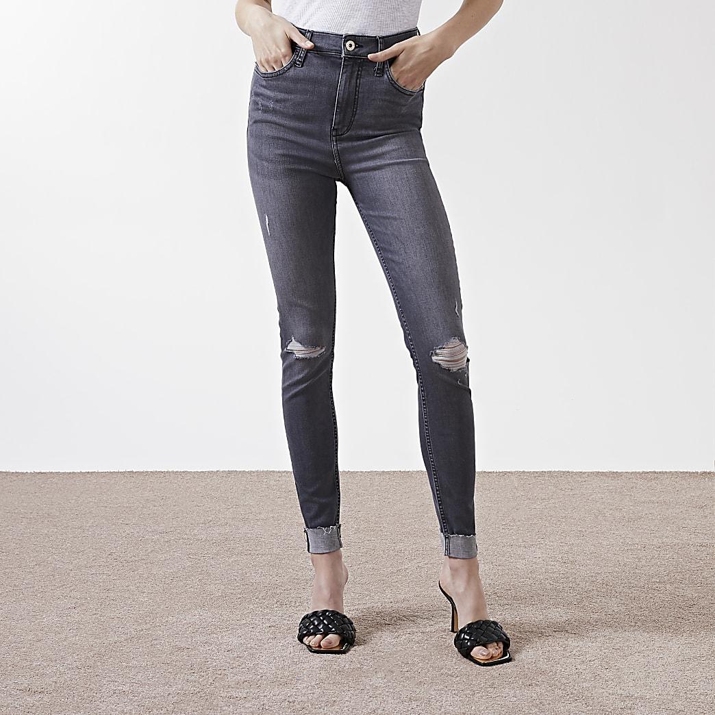 Grey rip high rise skinny jeans