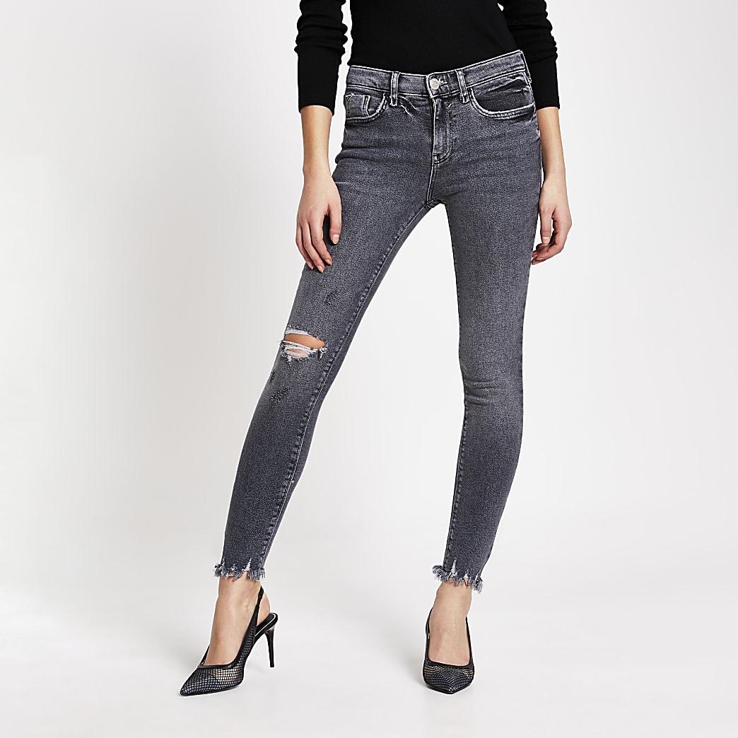 Amelie – Graue, superenge Skinny Jeans im Used-Look