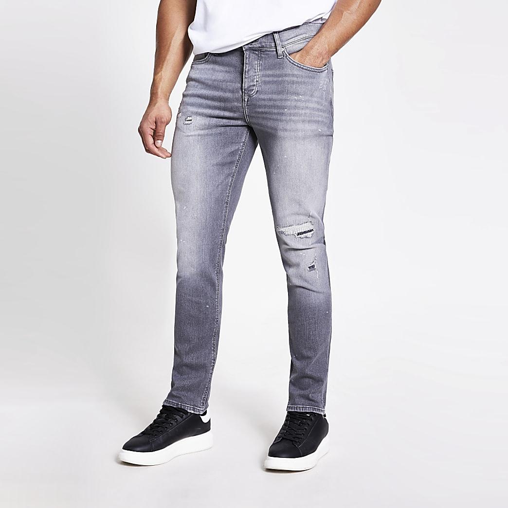 Grijze rippedslim-fit Dylan jeans