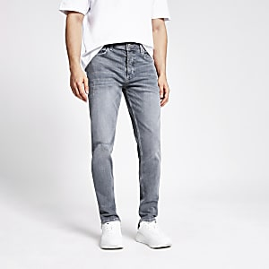 Grijze ripped slim-fit Dylan jeans