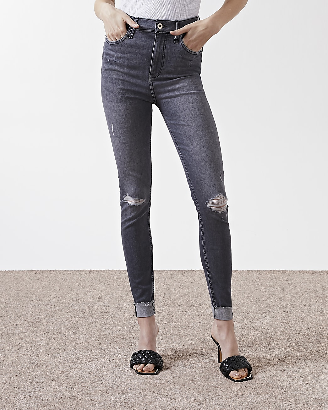 Grey ripped high waisted skinny jeans