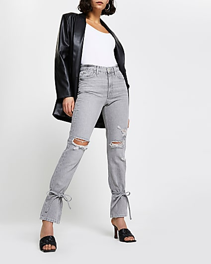 Grey ripped high waisted slim fit jean