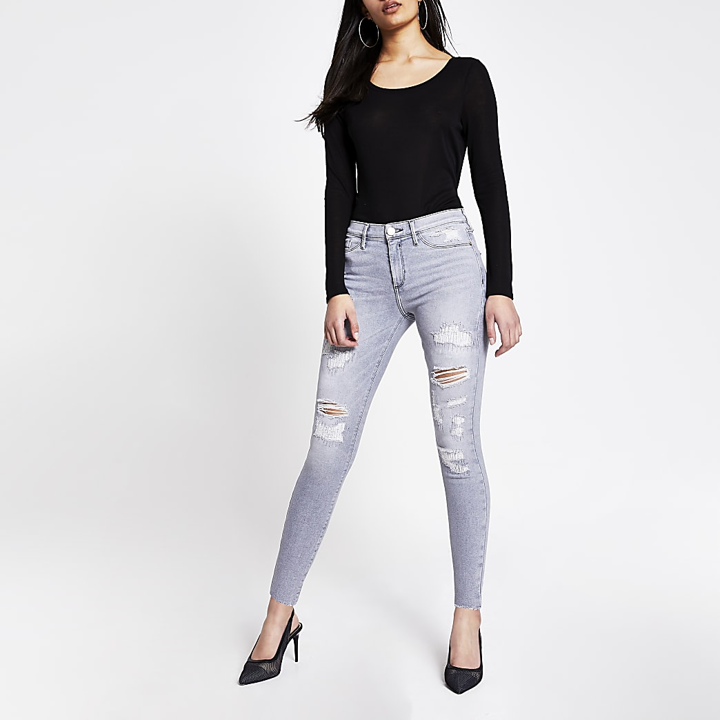 Graue Molly-Jeggings mit halbhohem Bund im Used-Look