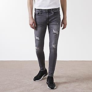 Ollie – Graue Spray-on-Jeans im Used-Look