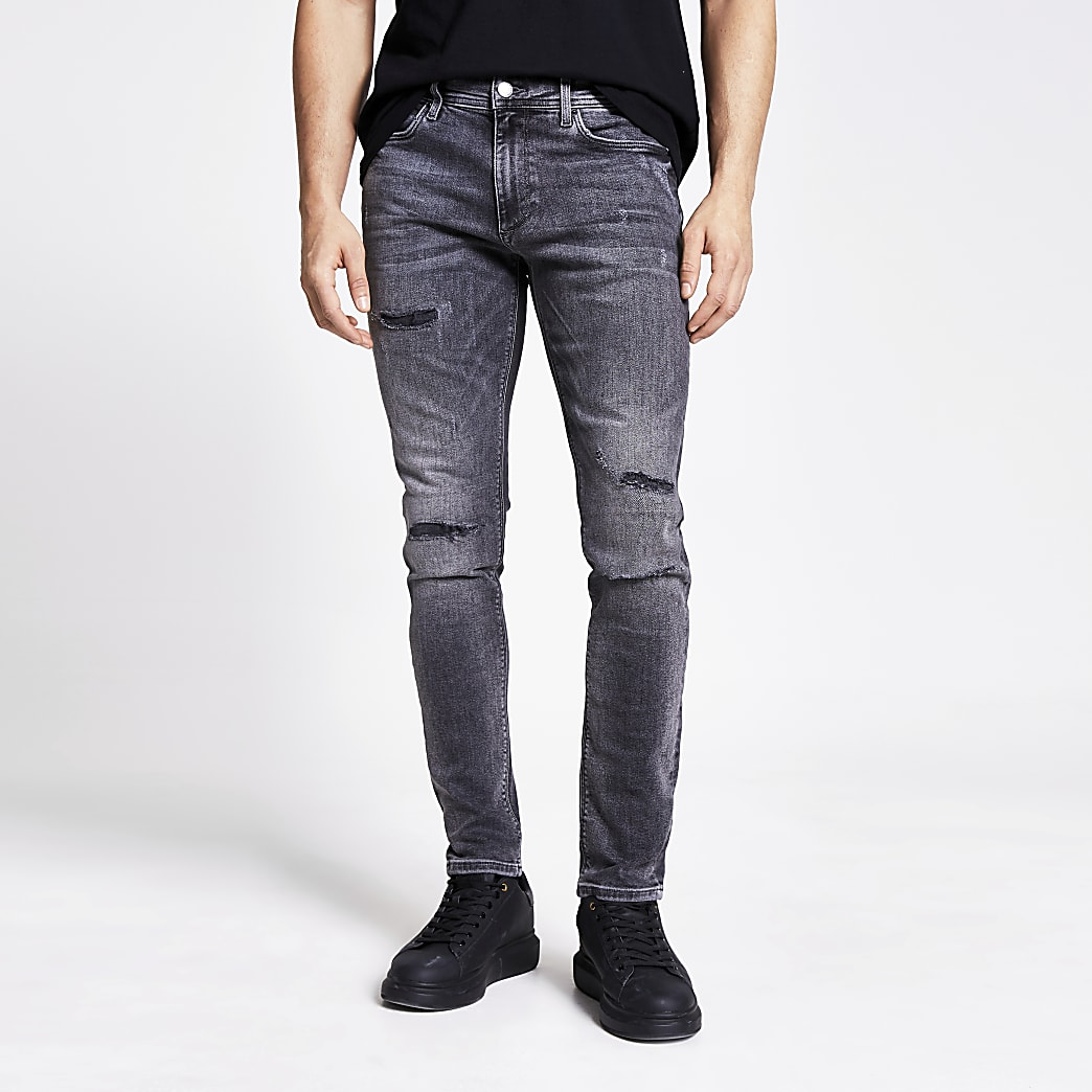 Grey ripped Sid skinny jeans