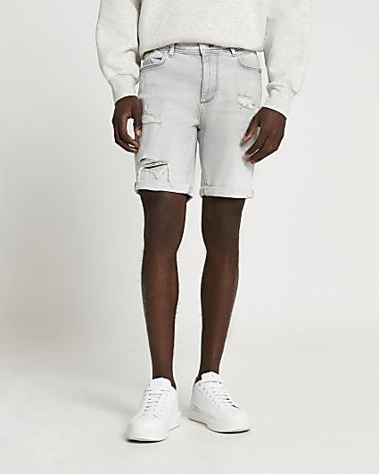 Grey ripped skinny fit denim shorts