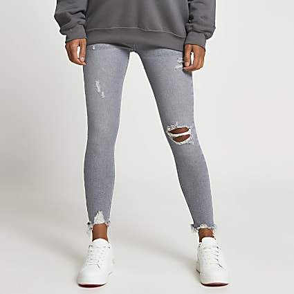 Grey ripped skinny maternity jeans