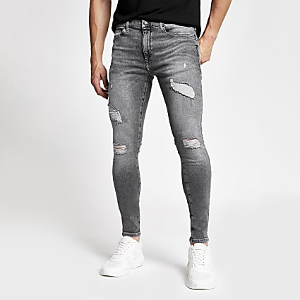 Grey ripped spray on skinny fit jeans