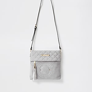 Grey RIR embossed circle cross body bag