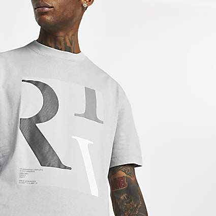 Grey 'RIV' box print t-shirt