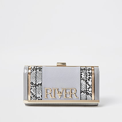Grey 'River' clip top purse