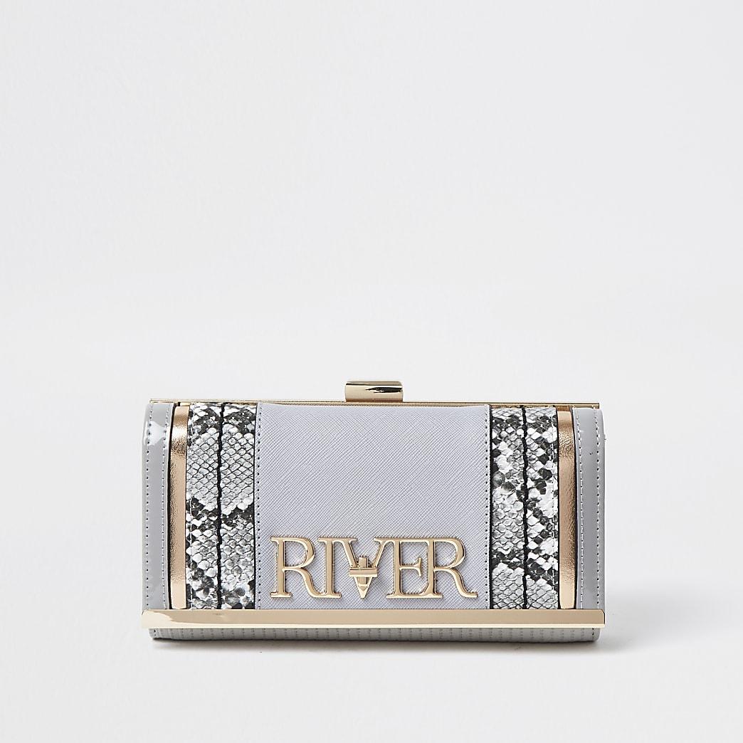 Grey 'River' clip top purse