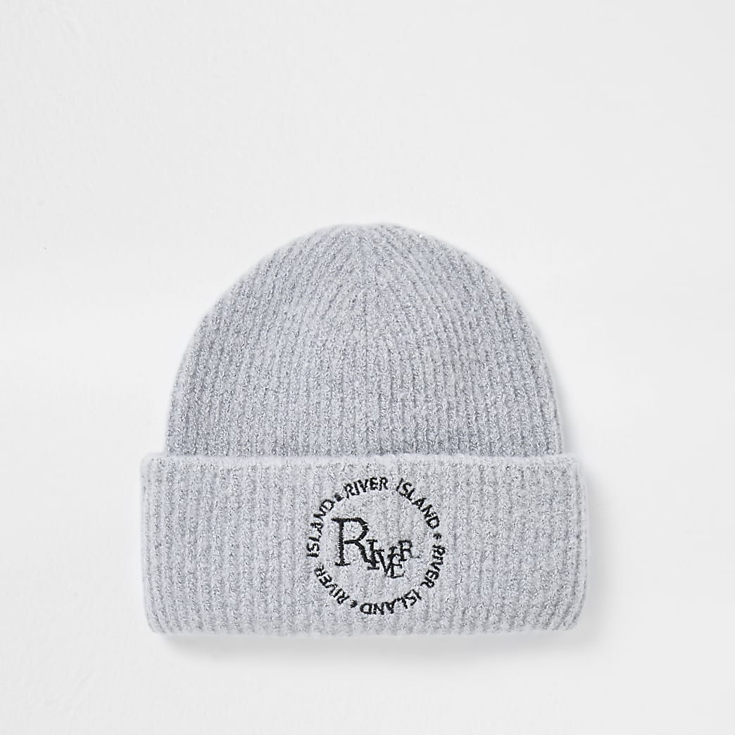 Grey 'River' embroidered soft beanie hat