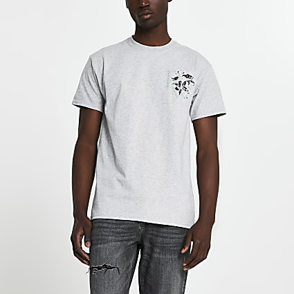 Grey 'River' floral logo slim fit t-shirt