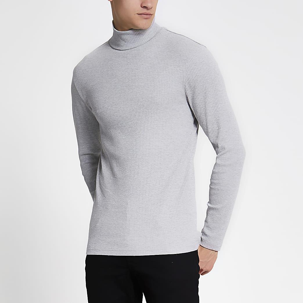 Grijs slim-fit T-shirt met rolcol en lange mouwen