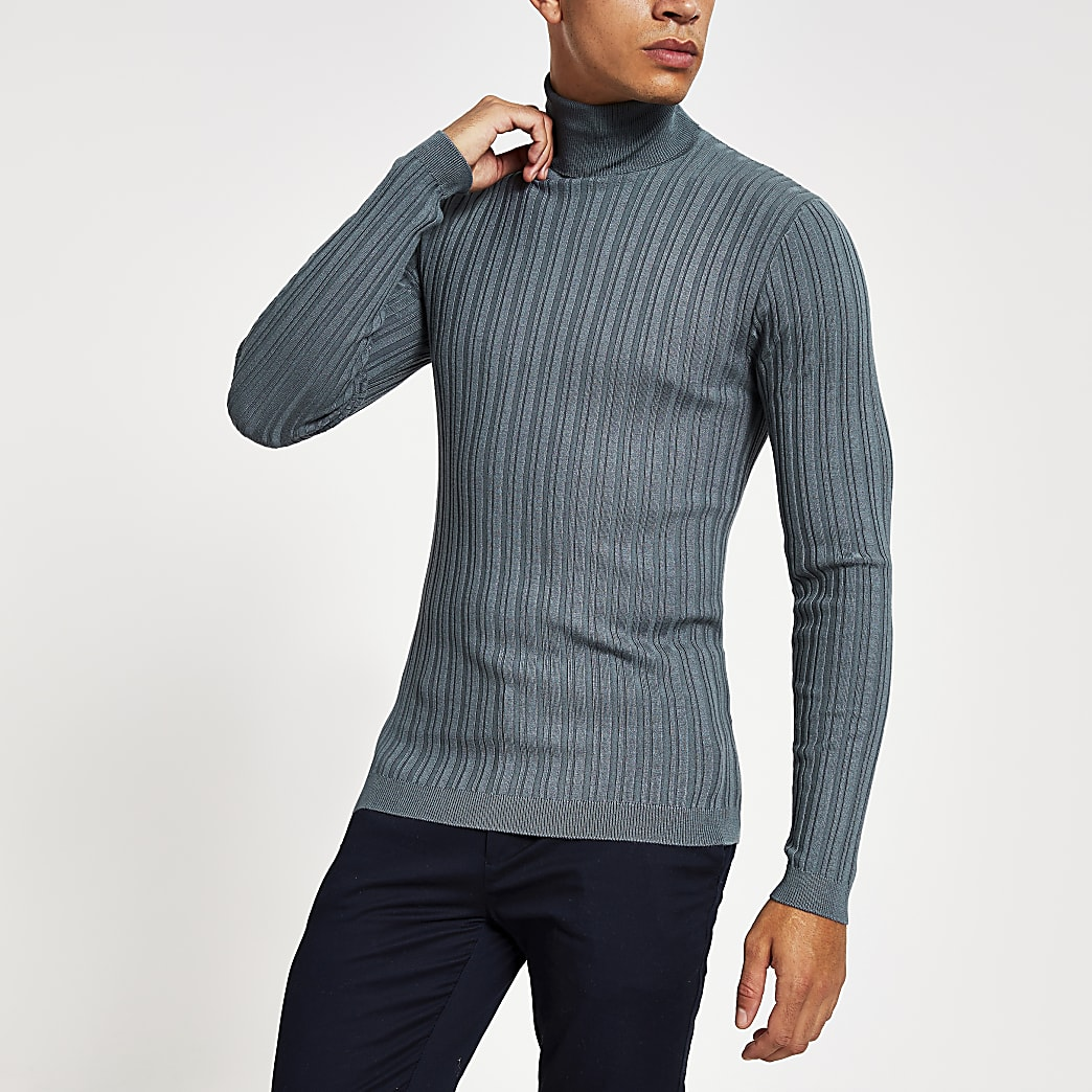 Grey roll neck muscle fit ribbed jumper