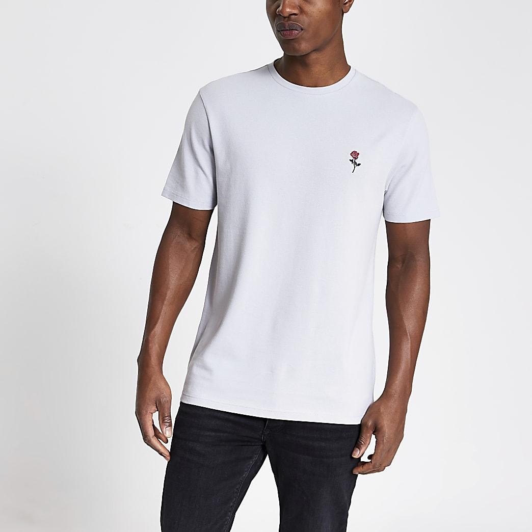 Grijs piqué slim-fit T-shirt met roosprint