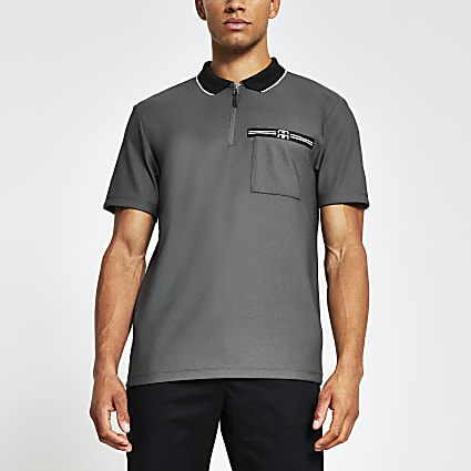Grey 'RR' branded short sleeve polo shirt