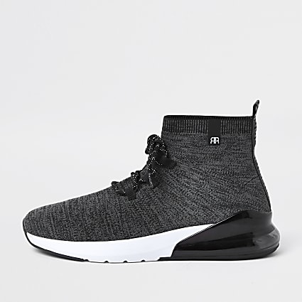Grey 'RR' high top sock trainers