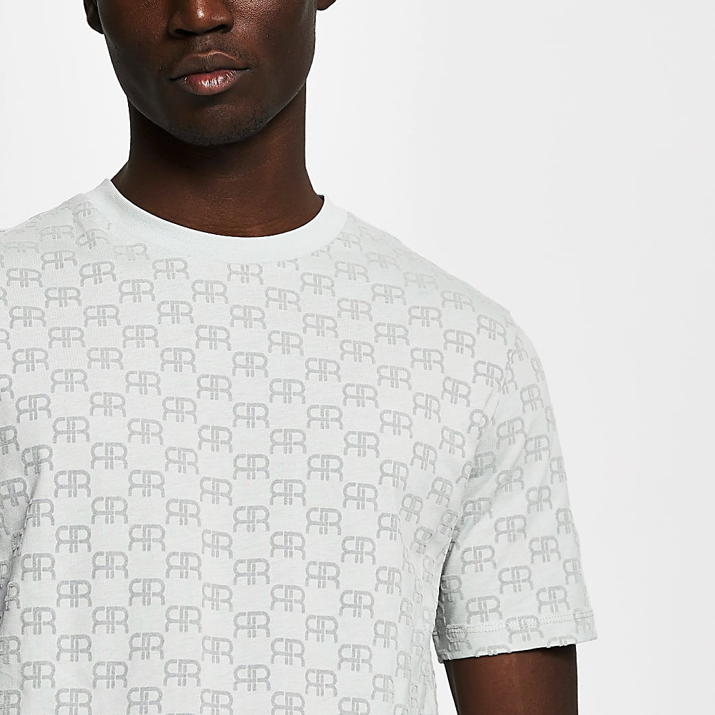 Grey 'RR' monogram print short sleeve t-shirt