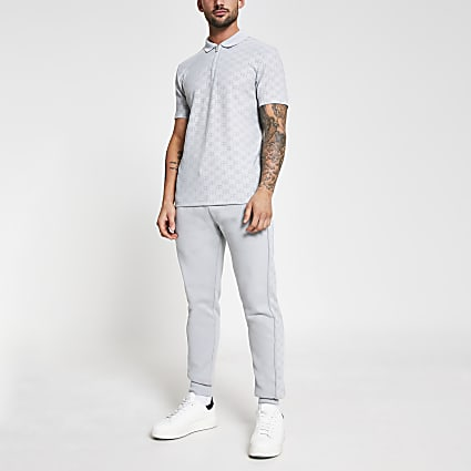 Grey 'RR' monogram print slim fit polo