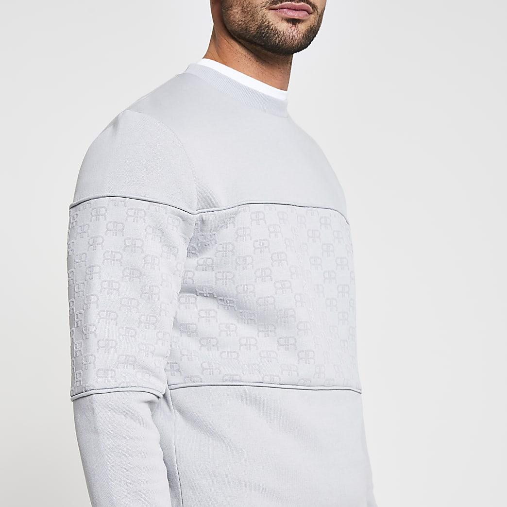 Grey 'RR' Monogram print slim fit sweatshirt