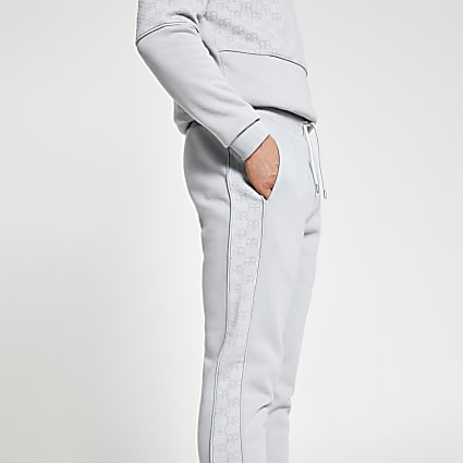 Grey 'RR' monogram side panel print joggers