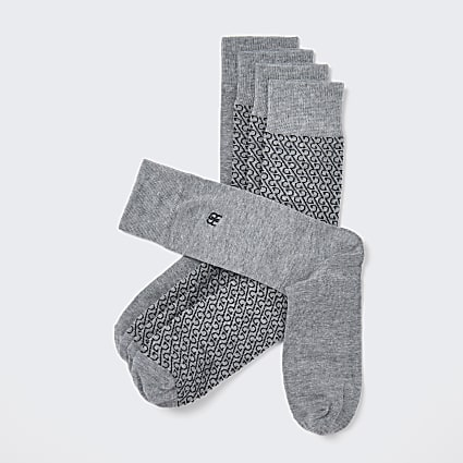 Grey RR monogram socks 5 pack