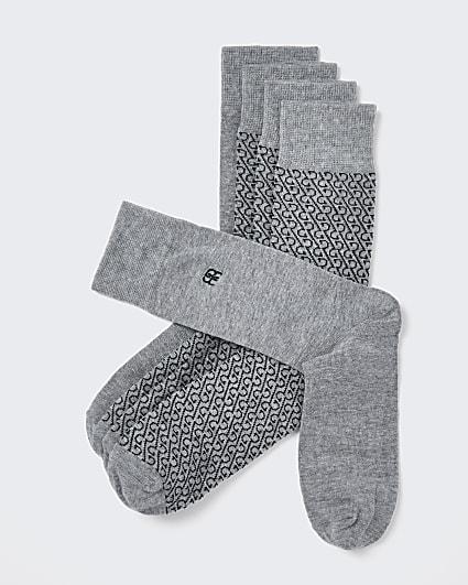 Grey RR monogram socks 5 pack