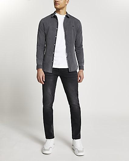 Grey RR muscle fit long sleeve denim shirt