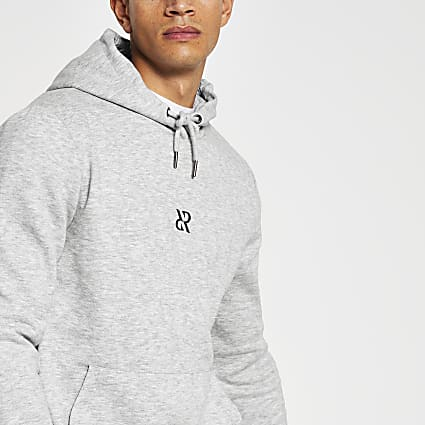 Grey RR print slim fit hoodie