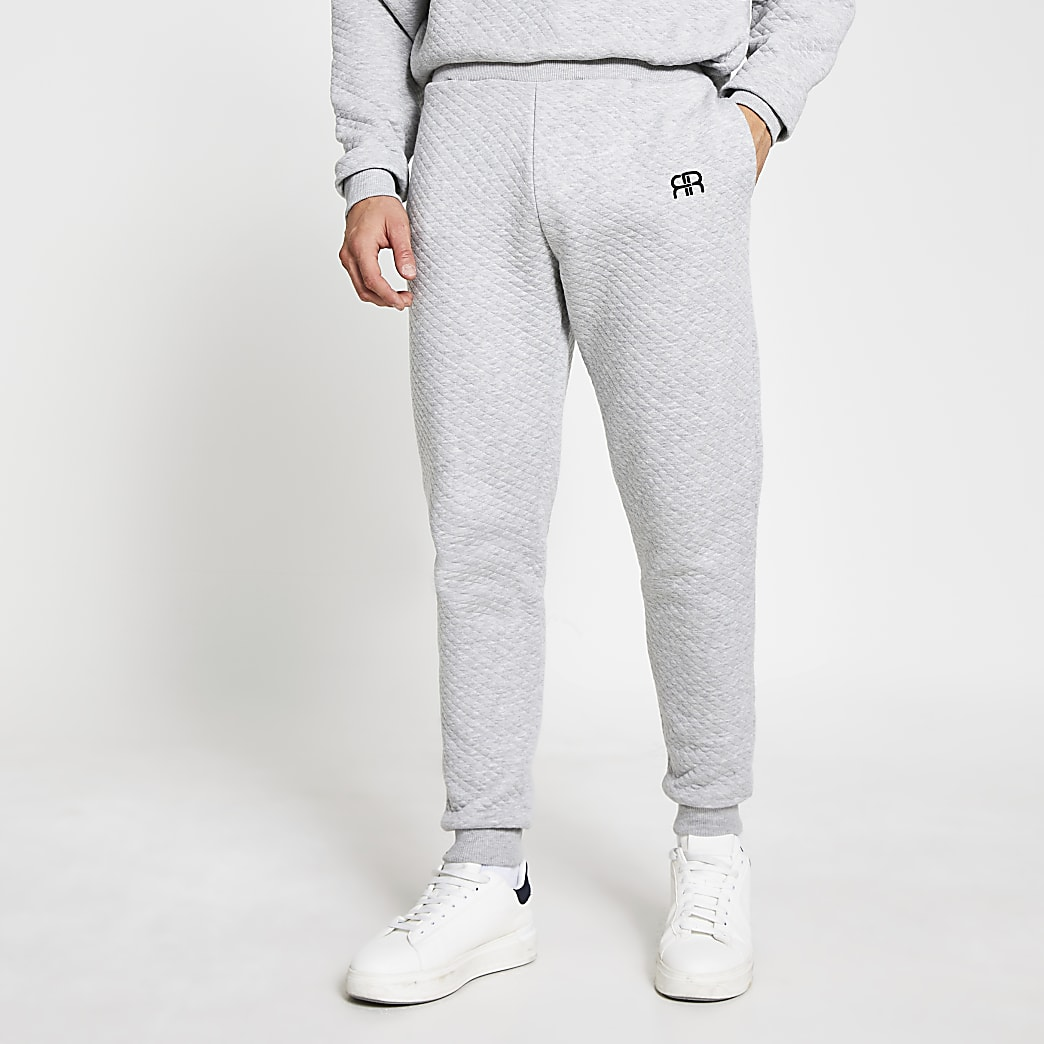 Grey RR quilted loungewear joggers