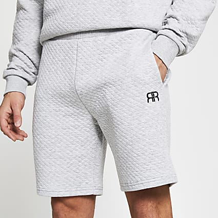Grey RR quilted loungewear shorts