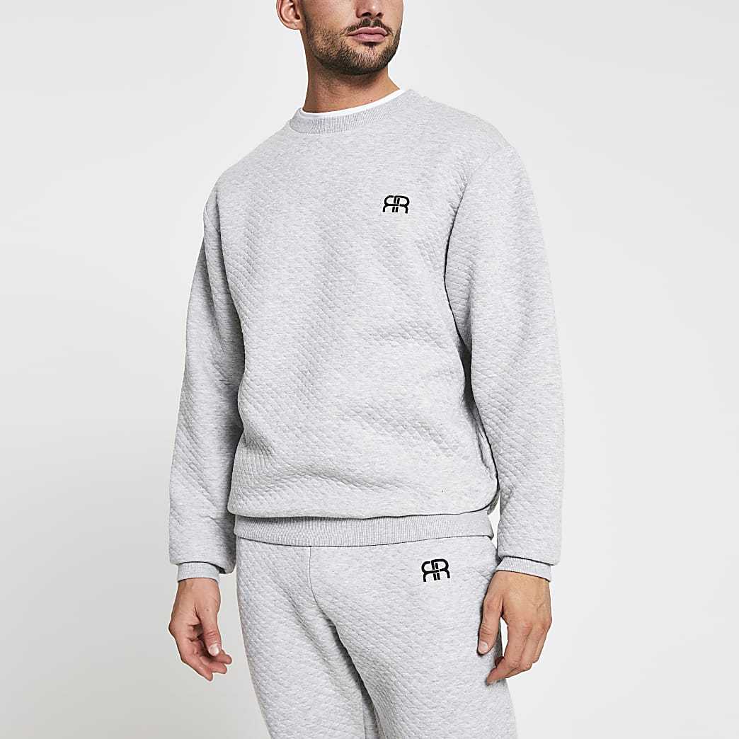 Grey RR quilted loungewear sweatshirt