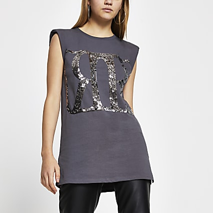 Grey 'RR' sequin shoulder pad tunic top