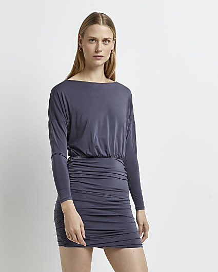 Grey ruched slinky long sleeve batwing dress