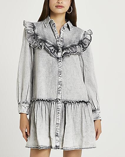 Grey ruffled shirt dress