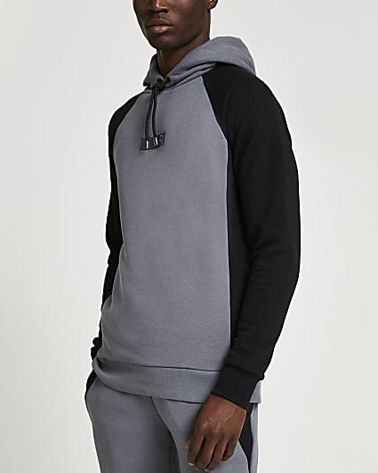 Grey RVR colour block muscle fit hoodie