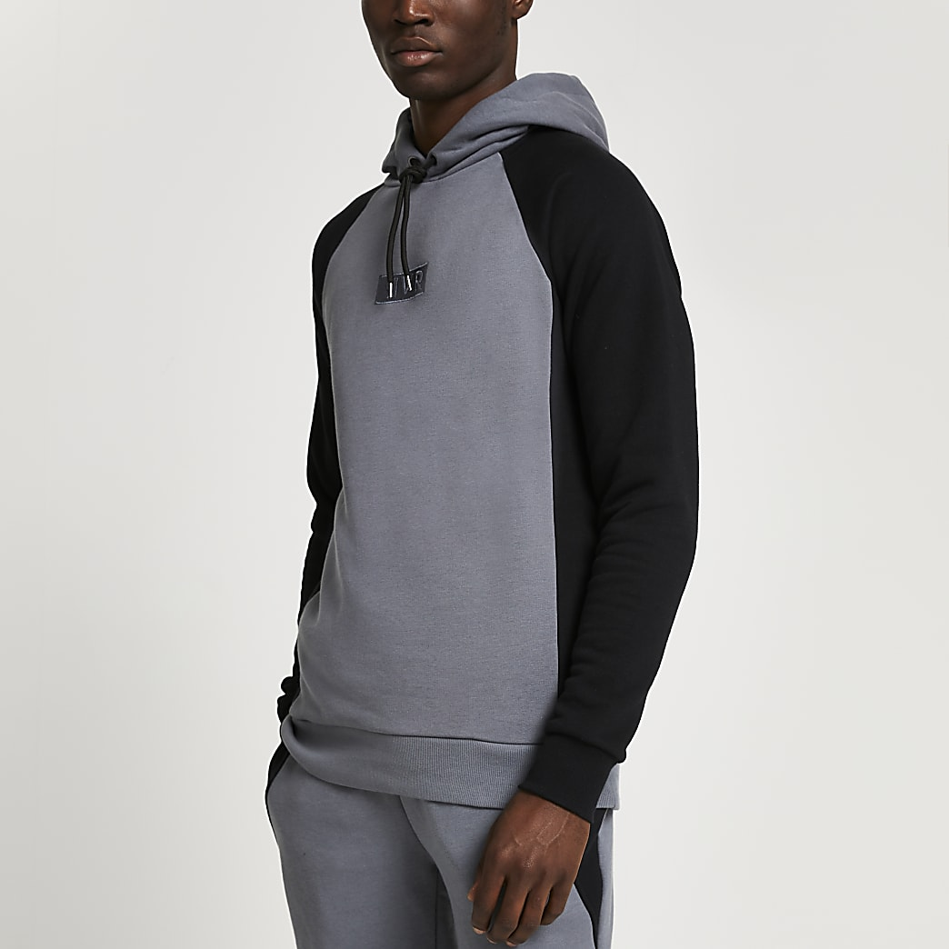Grey RVR colour block muscle fit hoodie
