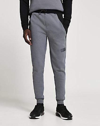 Grey RVR colour block muscle fit joggers