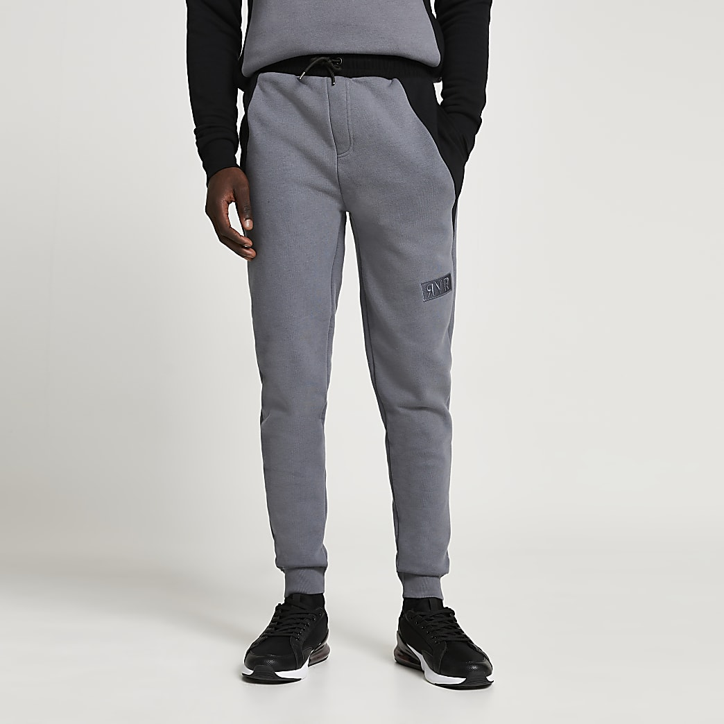 Grey RVR colour block muscle fit joggers