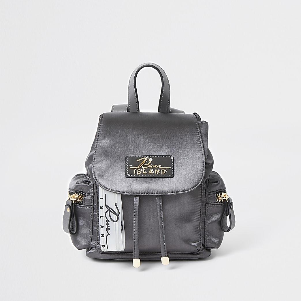 Grey satin drawstring backpack