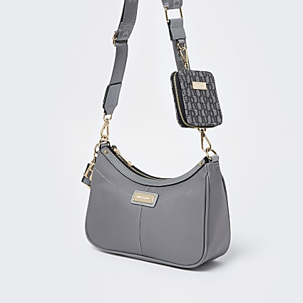 Grey scoop shoulder bag with mini pouchette