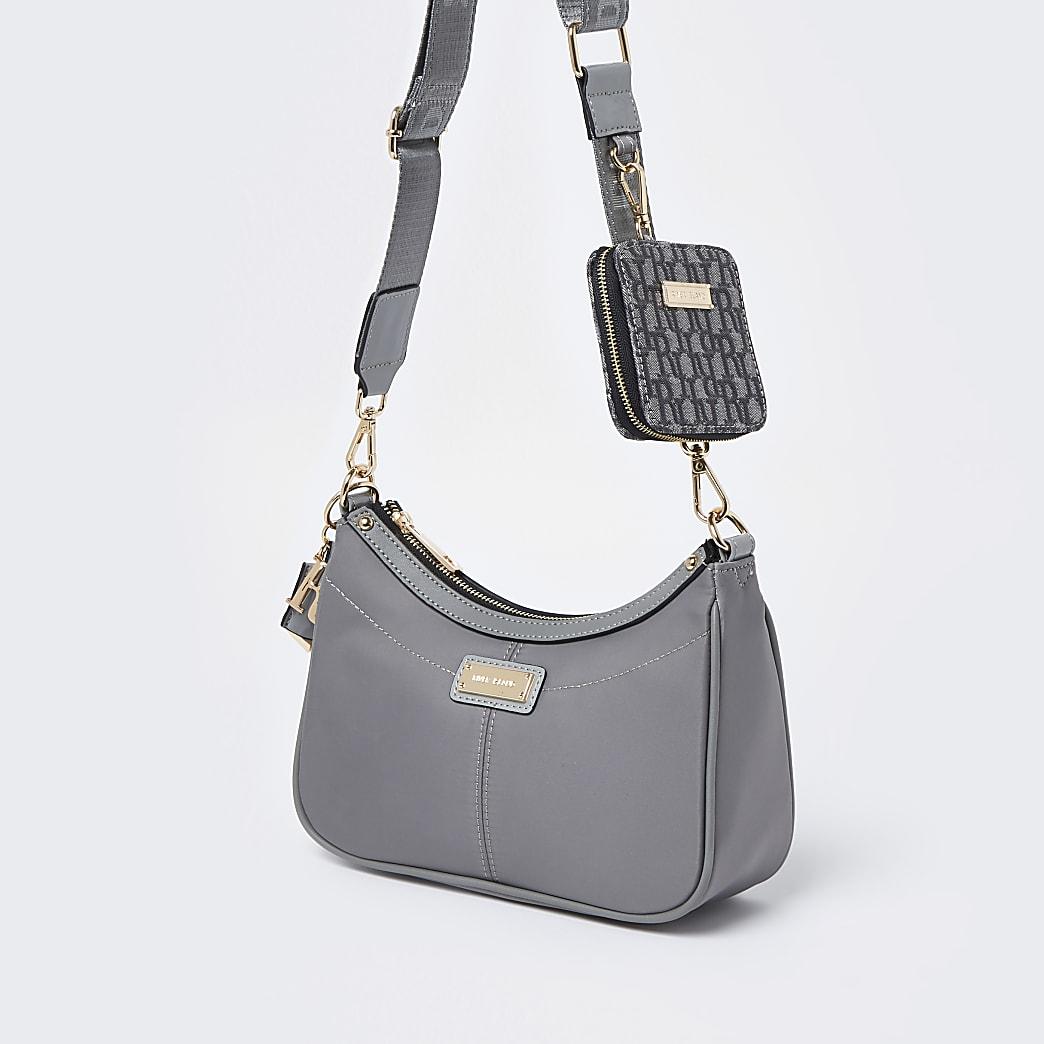 Grey scoop shoulder bag with mini pouchette