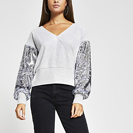 Grey sequin sleeve brushed ribbed top